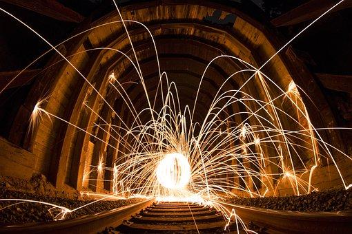 Art, Dark, Light, Light Streaks, Railroad, Railway