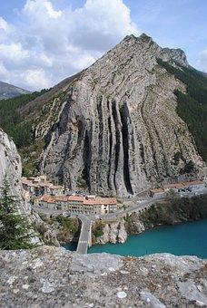 Sisteron, France, Durance, River, Mountain