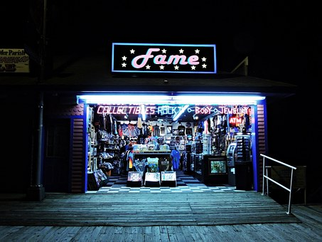 Shop, Store, Night, Building, Boad Walk, Sign