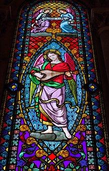 Stained Glass Window, Mosaic, Monserrat, Society, Angel