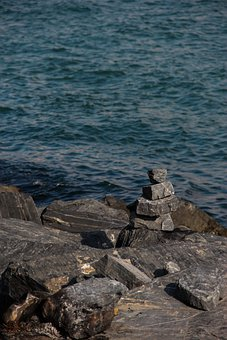 Stone, Blue, Grizzled, Water, Coast, Rocks