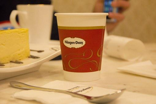 Häagen-dazs, Paper Cup, Dining Table, Simple, Dining