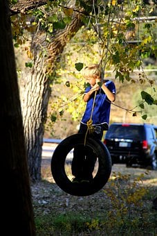 Boy, Tire Swing, Swinging, Activity, Playing, Fun