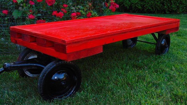 Wagon, Red, Wood, Toy, Wheels, Grass, Wooden, Vintage