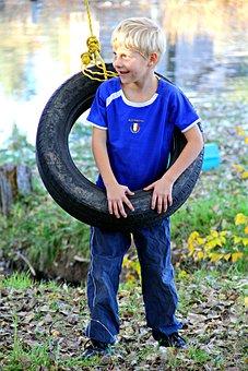 Boy, Playing, Happy, Smiling, Swinging, Tire Swing