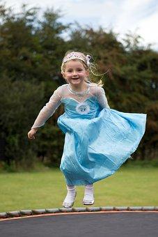 Trampoline, Child, Fun, Little, Girl, Active, Jump