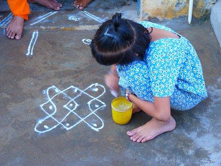 Mandala, Kolam, Rice Flour, Art, Geometric, Luck India