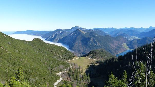 Alpine, Mountains, Blue, Fog, Walchensee, Mood