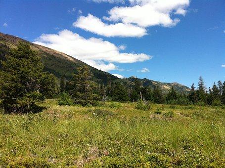 Mountains, Waterton, Landscape, Peak, Clouds, Sky