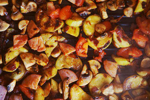 Food, Fried, Grill, Pan, Ragout, Vegetables