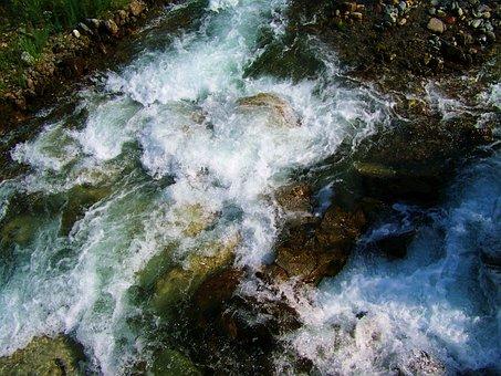 Water, Rippling Stream, Foamy Waves
