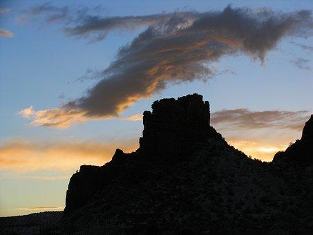 Arizona, Landscape, Sunset, Evening, Dusk, Silhouette