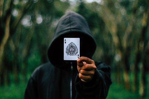 Ace, Cards, Hooded, Hood, Man, Adult, Blur, Dark