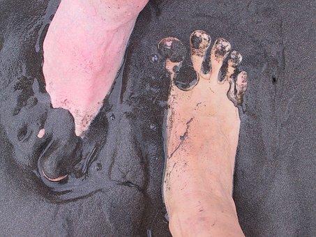 Feet, Mud, Sand, Volcano, Earth, Gatsch, Black, Ten