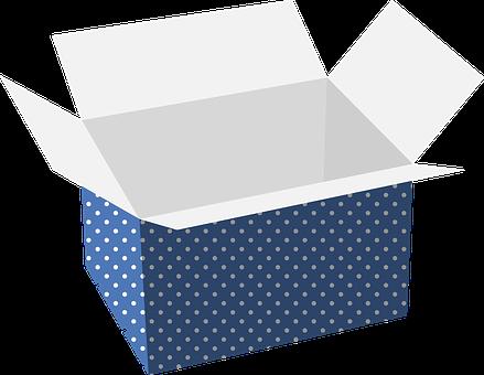 Blue Polka Dot, Box, Cardboard, Carry, Storage
