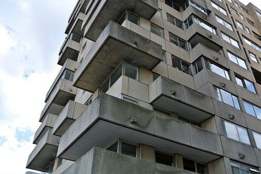 Concrete, Appartements, Balconies, Brutalism, Block