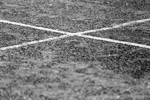 B W, Black And White, Car Park, Cross, Dirt, Lines