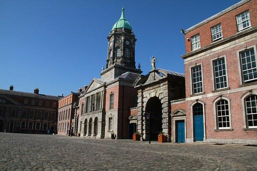 Dublin Castle, Castle, Building, Courtyard, Irish