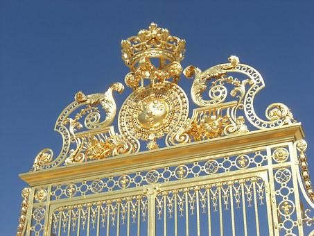 Versailles, Gate, Gold, Golden, France, Architecture