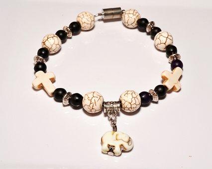 Jewelry, Bracelet, Cross, Elephant, Beads