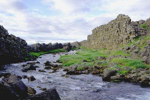 öxarárfoss, Iceland, Nature, Landscape, Cascade