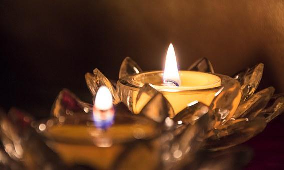 Glass, Light, Burning, Lotus, Candle