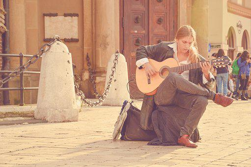 Acoustic Guitar, Blond Man, Long Hair, Music, Musician