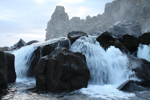 Waterfall, Mountain, Water, Stone, Rock, River, Flow