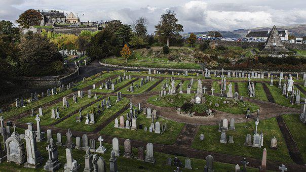 Cemetery, Castle, Cloudy Day, Scotland, Sterling