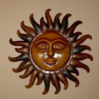 Sun, God, Wood, Carved, Decoration, Artwork