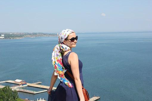 Crimea, Girl, Sea, Beach, Dress, Shawl, Travel