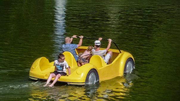 Pedal Boat, Yellow, Fun, Vacation, Activity, Recreation