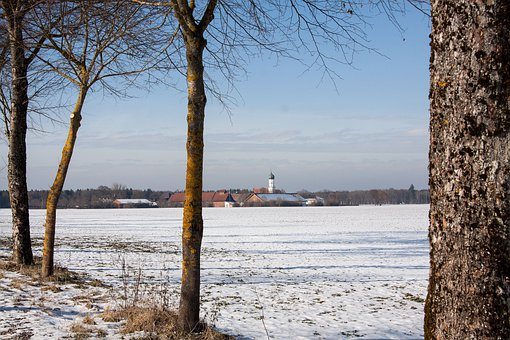 Gut, Manor, St Bhanu In Möschenfeld, Avenue, Winter