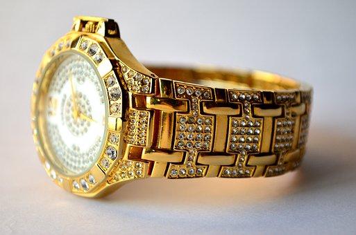 Watch, Wrist, Wristwatch, Gold, Band, Diamonds