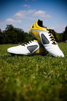 Football, Boots, Shoes, Sport, Field, Grass, Park, Team