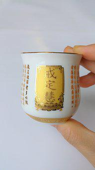Golden, Cup, Buddhism, Offering, Altar, Chinese