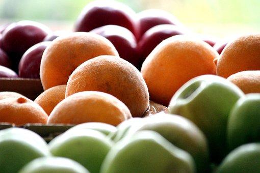 Fruit, Cartons, Apple, Peaches, Plums, Fruits, Food