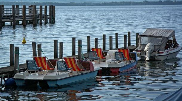 Boats, Anchorage, Lake, Chiemsee, Leisure, Water Sports