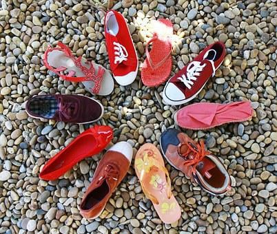 Circle, Shoes, Red Tones, Red, Orange, Purple