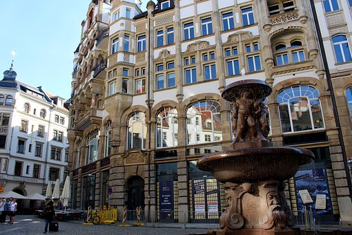Leipzig, Fountain, City, Water Feature, Germany