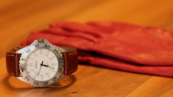 Clock, Wrist Watch, Packshot, Time, Glove, Red, Table