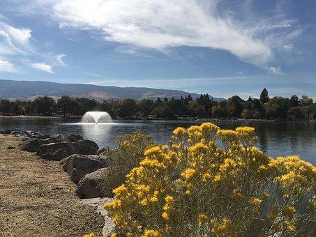 Lake, Fountain, Mountain, Sky, Cloud, Blue, Landscape