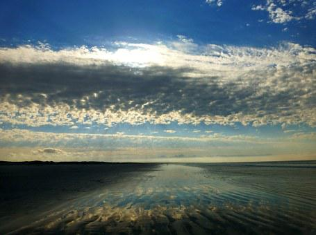 Sea, Ocean, Beach, Clouds, Sky, Mirroring, Meditation