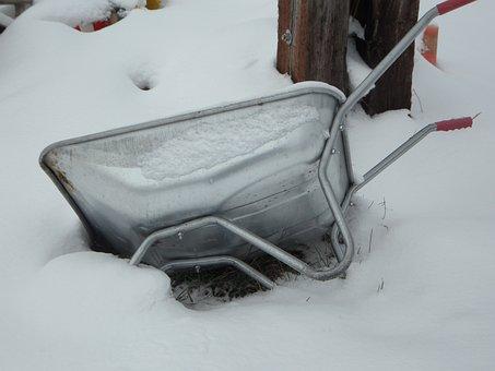 Wheelbarrow, Snowdrift, Snow, Winter, Cold, Upset