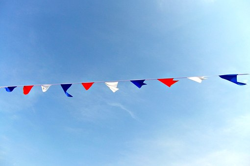 Bunting, Blue, Sky, Sunshine, Seaside, Colours, Red