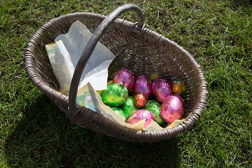 Easter, Easter Egg, Ij, Eggs, Purple, Green, Basket