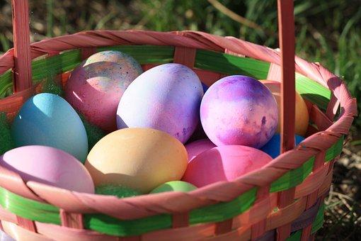 Easter Eggs, Multicoloured, Basket, Grass, Garden
