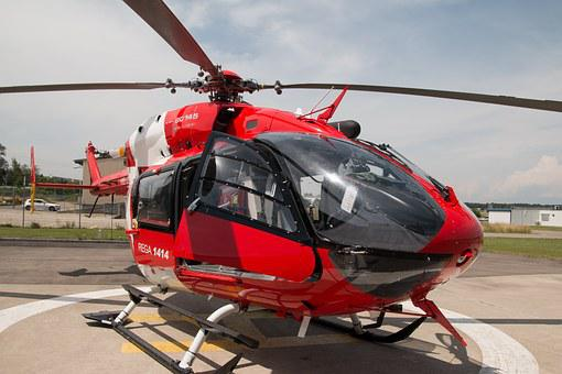 Eurocopter, 145, Ec145, Helicopter, Red, Close