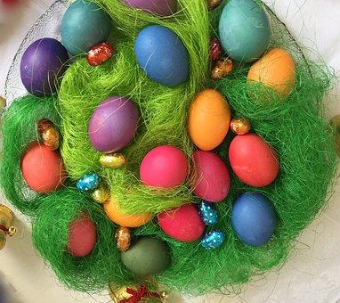 Easter Nest, Easter, Egg, Colorful, Basket, Osterkorb