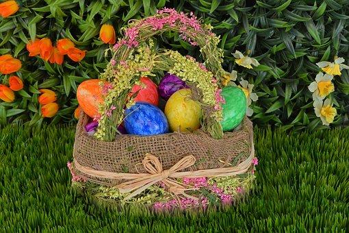 Basket, Easter Eggs, Easter, Egg, Spring, Grass